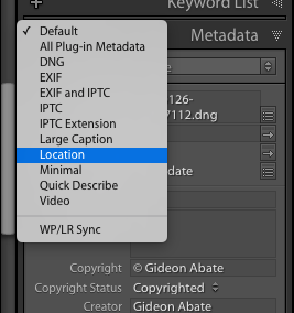 Select Location option for Metadata